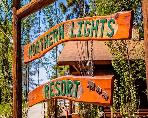 Northern Lights Resort wooden sign.