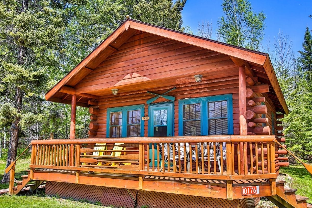 Bass cabin exterior and patio.