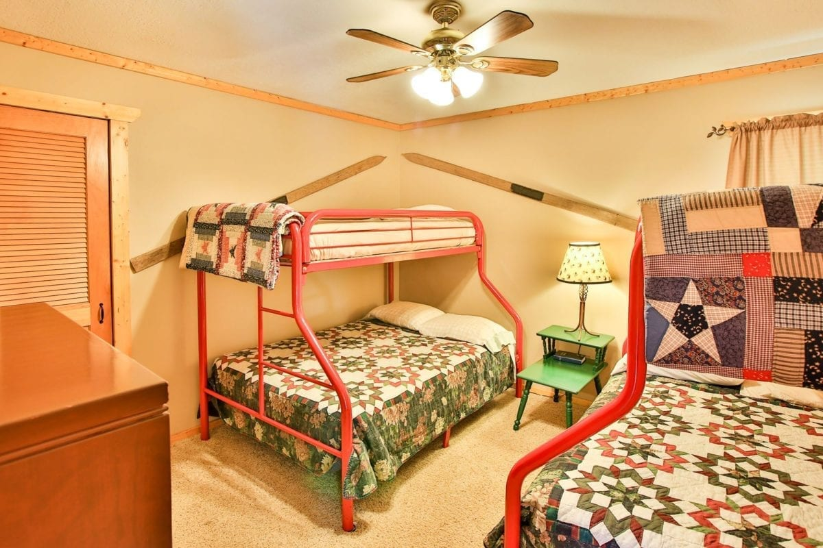 Bedroom with two bunk beds.