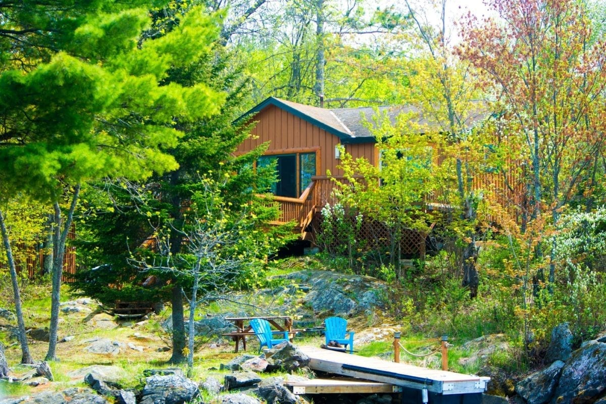 Muskie Cabin exterior and dock.