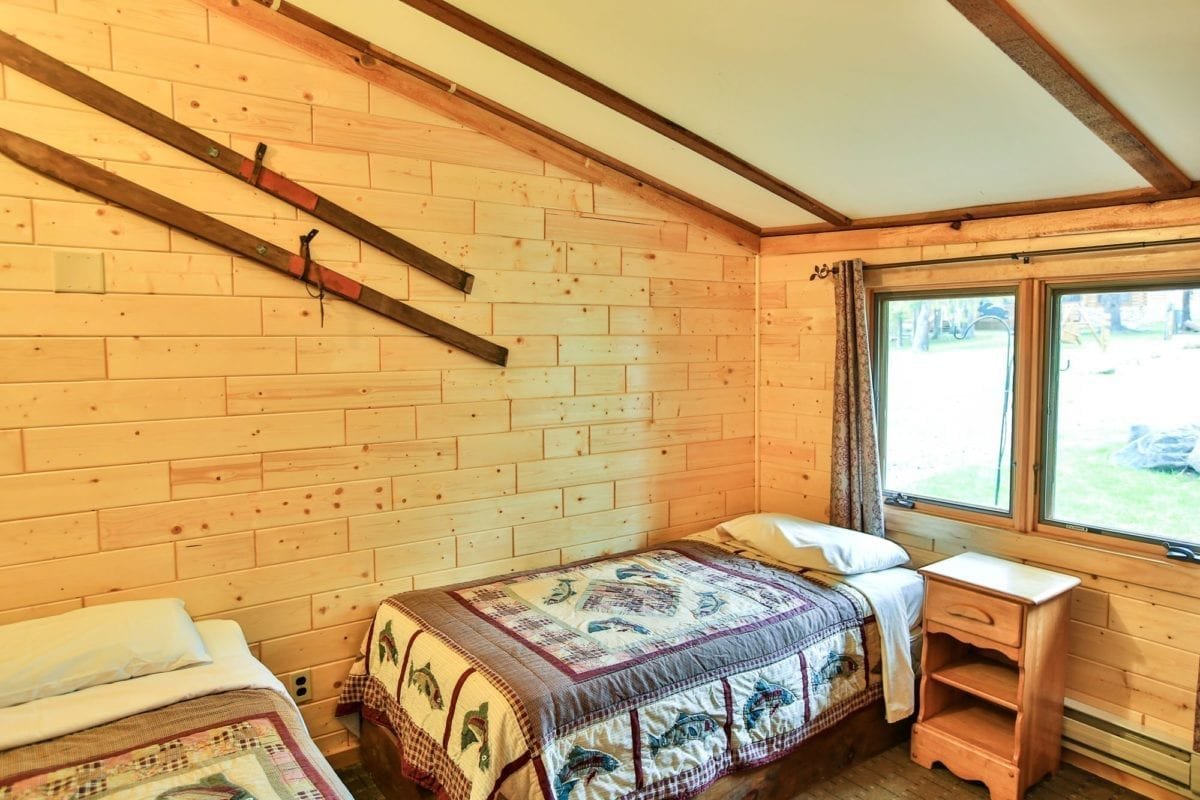 Bear Cabin bedroom with two beds.