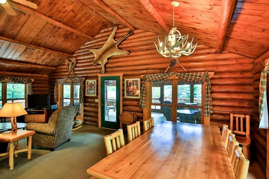 Firestone Log Lodge dining table and living room.