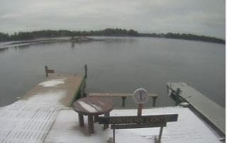 Winter Webcam view of Lake Kabetogama from the dock.
