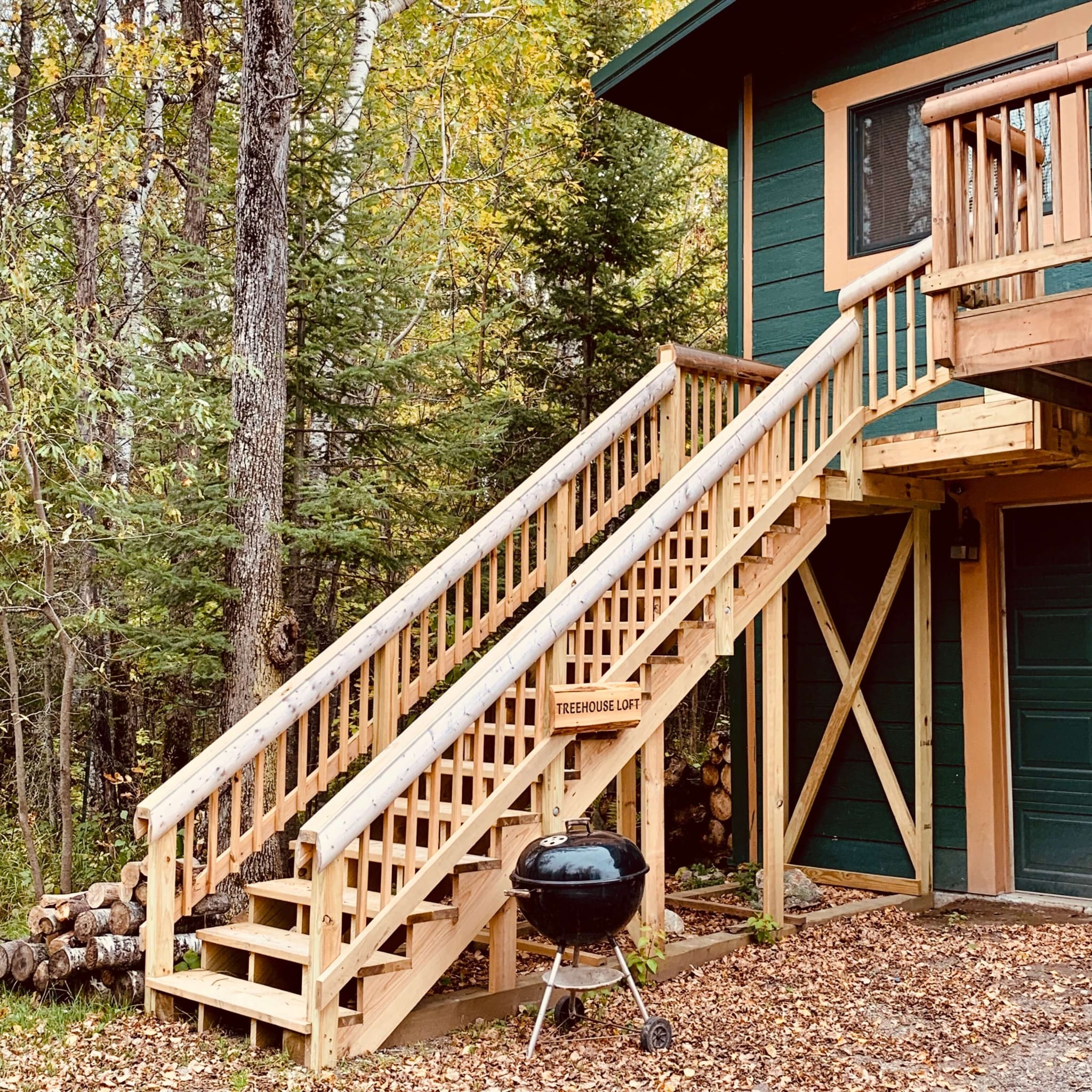 Tree house cabin entrance and stairs