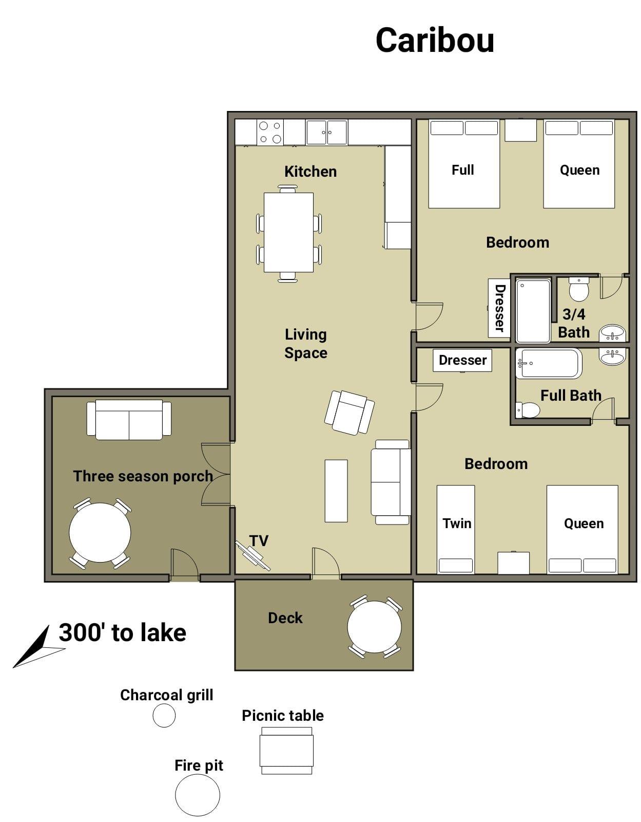 Caribou Cabin floor plan.
