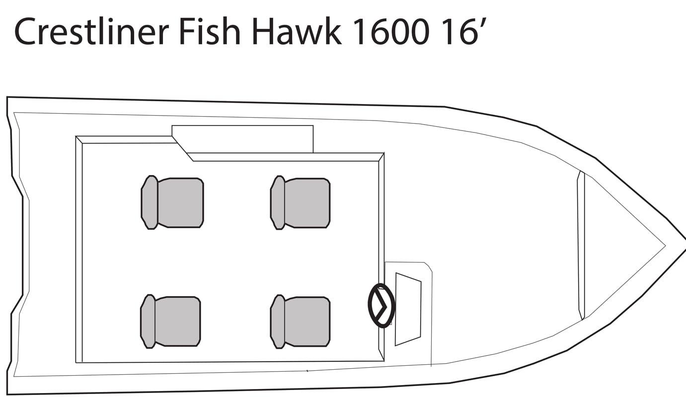 Crestliner Fish Hawk 16' fishing boat seating plan.