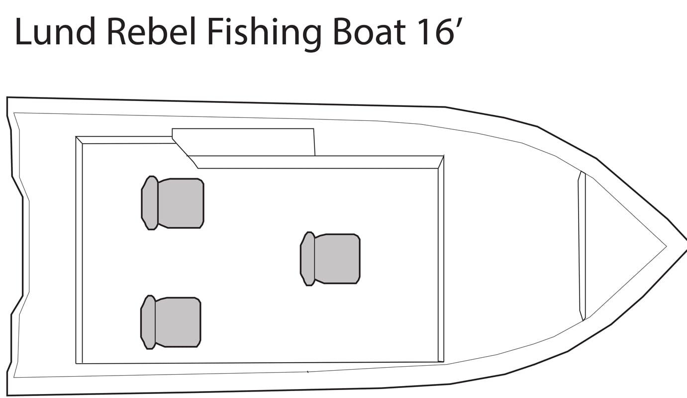 Lund Rebel 16' fishing boat seating plan.