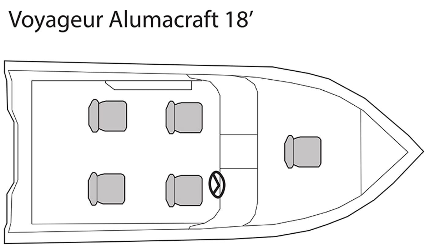 Voyageur Alumacraft 18' fishing boat seating plan.